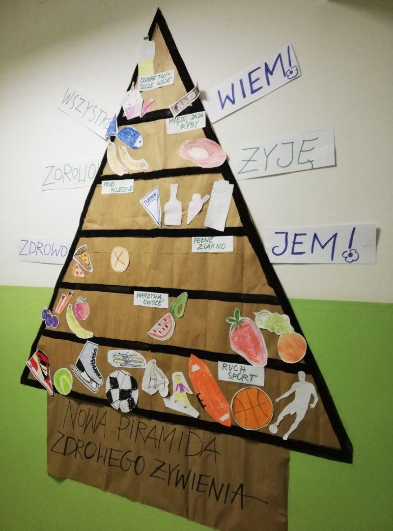 Piramida żywienia zawisła na szkolnym korytarzu 18.10.2019 r.